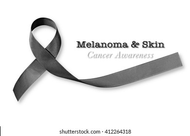 Melanoma and skin cancer, black awareness ribbon (isolated on white background, clipping path)