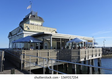 MELBOURNE - APR 02 2019:Visitors at St Kilda Pier, a very popular tourist attraction in Port Philip Bay in Melbourne Victoria Australia.