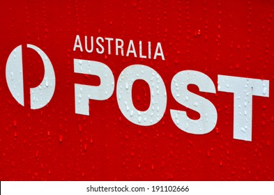 MELBOURNE - APR 10 2014:Australia post office box sign and symbol.It's a government business enterprise, self-funding and uses its assets and resources to earn profits to the Commonwealth Government.