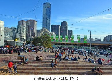 MELBOURNE - APR 13 2014:Federation Square, located at the heart of Melbourne CBD home to major cultural attractions and world-class events in Melbourne Victoria, Australia.