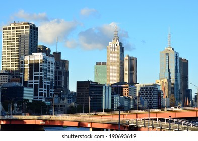 MELBOURNE - APR 13, 2014:Melbourne Downtown skyline .Melbourne have population and employment growth with international investment in the city's industries and property market.