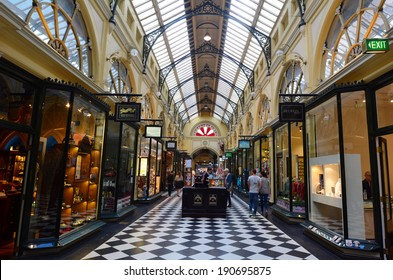 MELBOURNE - APR 13 2014:Visitors at the Royal Arcade in Melbourne, Australia.It's a significant Victorian era arcade shopping passage and one of the most famous tourist destinations in Melbourne.