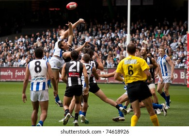MELBOURNE - APRIL 2: Action from Collingwood's win over North Melbourne  at Etihad Stadium Docklands - April 2, 2011 in Melbourne, Australia