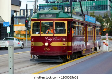 Melbourne, AU - MAY 13, 2018: The old vintage brown tram is running on the CBD Free Tram of City Circle Line, for sending tourists to Latrobe St. station.