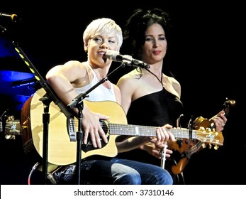 """MELBOURNE, AUGUST 19 - Pink performs to a packed Rod Laver Arena as part of her sell out 2009 """"Funhouse"""" tour in Australia on August 19, 2009 in Melbourne, Australia"""