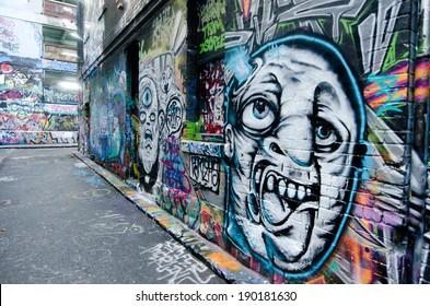 MELBOURNE, AUS - APR 10 2014:Graffiti artwork in Hosier Lane.Hosier lane is a much celebrated landmark in Melbourne mainly due to its sophisticated graffiti urban art.