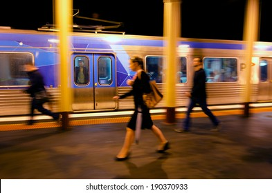 MELBOURNE, AUS - APR 11 2014:Metro Trains Melbourne passengers.It travels over 30 million Km and service more than 228 million customers a year and carries over 415,000 passengers each weekday.
