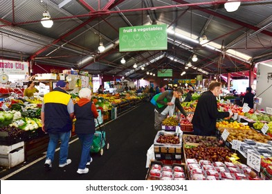 MELBOURNE, AUS - APR 12 2014: Shoppers at Queen Victoria Market. It is a major landmark and the largest open air market in the Southern Hemisphere.