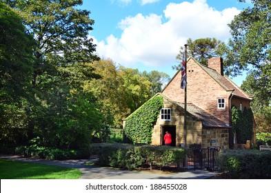 MELBOURNE, AUS - APR 14 2014:Visitors at Captain Cooks Cottage.It's a popular tourist attraction located in the Fitzroy Gardens, Melbourne, Australia.
