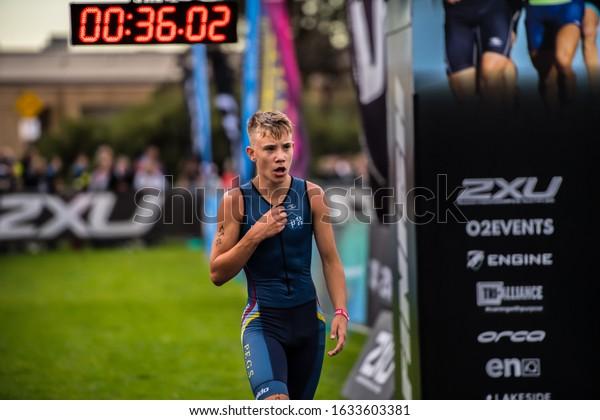 MELBOURNE, AUSTRALIA -02 FEBRUARY, 2020: 2XU Triathlon Series, Elwood Beach, Melbourne 2020, Race 4, Finish Line of Youth FUN-Tri event.