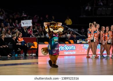 MELBOURNE, AUSTRALIA -05 MAY, 2019: Suncorp Super Netball, Melbourne 2019 Melbourne Vixens VS Giants Netball. Vixens Mascot
