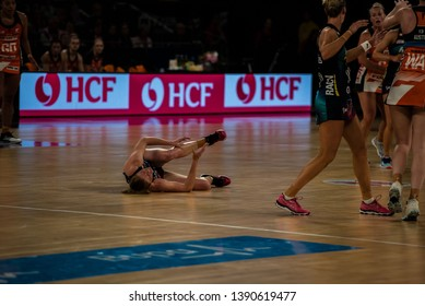 MELBOURNE, AUSTRALIA -05 MAY, 2019: Suncorp Super Netball, Melbourne 2019 Melbourne Vixens VS Giants Netball. Player down.