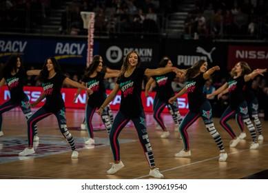 MELBOURNE, AUSTRALIA -05 MAY, 2019: Suncorp Super Netball, Melbourne 2019 Melbourne Vixens VS Giants Netball. Cheerleading squad.