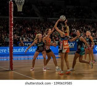 MELBOURNE, AUSTRALIA -05 MAY, 2019: Suncorp Super Netball, Melbourne 2019 Melbourne Vixens VS Giants Netball.