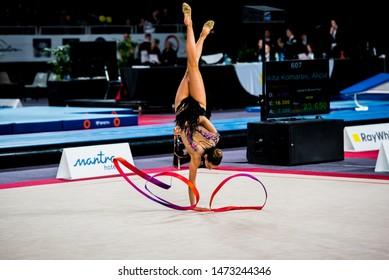 MELBOURNE, AUSTRALIA - 1 JUNE, 2019: Australian Gymnastics Championships, Melbourne Arena, MELBOURNE 2019.  Rhythmic Gymnastics. 2019 Champion Alexandra Kiroi-Bogatyreva, one arm stand with ribbon