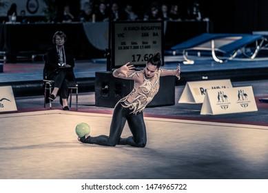 MELBOURNE, AUSTRALIA - 1 JUNE, 2019: Australian Gymnastics Championships, Melbourne Arena, MELBOURNE 2019.  Rhythmic Gymnastics. Aya Tanaka-Probert with ball routine