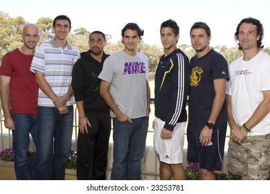 Melbourne, Australia - 13 Jan 2009. (L-R) Ivan Ljubicic-Croatia, Marin Cilic-Croatia, Marcos Baghdatis-Cyprus, Roger Federer-Swis, Fernando Verdasco-Spain, Stanislas Wawrinka-Swis, Carlos Moya-Spain