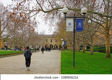 MELBOURNE, AUSTRALIA -17 JUL 2019- View of the campus of the University of Melbourne, a public research university founded in 1853. It is the second oldest university in Australia.