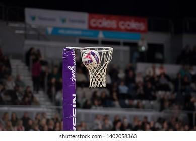 MELBOURNE, AUSTRALIA -17 MAY, 2019: Suncorp Super Netball, Melbourne 2019, Week 4, Collingwood Magpies Netball VS Adelaide Thunderbirds. The net and the ball, closeup, during practice.