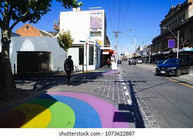 Melbourne, Australia. 20 April 2018. Streetscape of Collingwood, an trendy inner suburb of Melbourne.