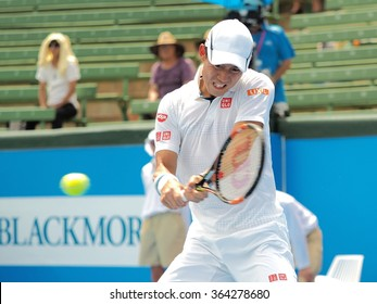 Melbourne, Australia, 2016 January 13: Kei Nishikori of Japan at an Exhibition and practice match at Kooyong Tennis Club