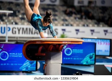 MELBOURNE, AUSTRALIA - 21-24 FEBRUARY, 2019: World Cup Gymnastics, Melbourne 2019 Qualification Day 1. Women's Artistic Gymnastics: Alexa Moreno (MEX) on Vault.