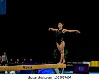 MELBOURNE, AUSTRALIA - 21-24 FEBRUARY, 2019: World Cup Gymnastics, Melbourne 2019 Qualification Day 2. Woman's Artistic Gymnastics: Aida Bauyrzhanova (KAZ), Beam.