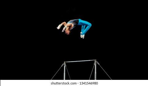 MELBOURNE, AUSTRALIA - 21-24 FEBRUARY, 2019: World Cup Gymnastics, Melbourne 2019 Qualification Day 2. Men's Artistic Gymnastics: Milad Karimi (KAZ) High Bar.