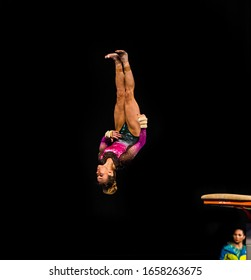 MELBOURNE, AUSTRALIA - 22 FEBRUARY, 2020: World Cup Gymnastics, Melbourne 2020 Finals, Women's Vault (VT) Angelina RADIVILOVA (UKR) from Ukraine, in the air jumping off the vault, black background.
