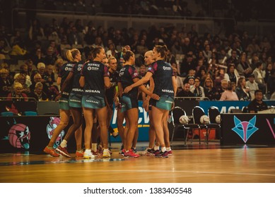 MELBOURNE, AUSTRALIA -27 APRIL, 2019: Suncorp Super Netball, Melbourne 2019 Melbourne Vixens VS Queensland Firebirds. Melbourne Vixens Team on field brief.