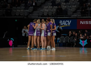 MELBOURNE, AUSTRALIA -27 APRIL, 2019: Suncorp Super Netball, Melbourne 2019 Melbourne Vixens VS Queensland Firebirds. Queensland Firebirds Team on-field brief.