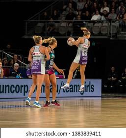 MELBOURNE, AUSTRALIA -27 APRIL, 2019: Suncorp Super Netball, Melbourne 2019 Melbourne Vixens VS Queensland Firebirds. Q1. Cassidy in the air.