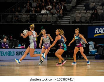 MELBOURNE, AUSTRALIA -27 APRIL, 2019: Suncorp Super Netball, Melbourne 2019 Melbourne Vixens VS Queensland Firebirds. Q1. Firebirds attacking.