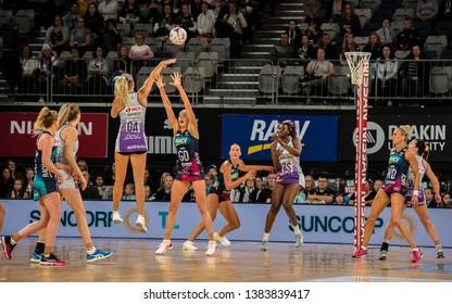 MELBOURNE, AUSTRALIA -27 APRIL, 2019: Suncorp Super Netball, Melbourne 2019 Melbourne Vixens VS Queensland Firebirds. Q1. Tippett passing.