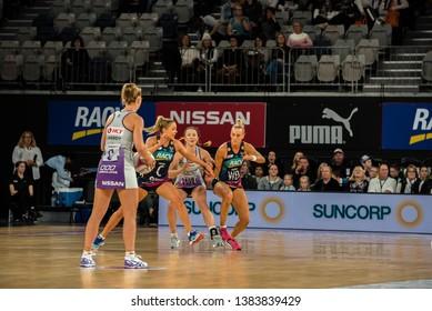 MELBOURNE, AUSTRALIA -27 APRIL, 2019: Suncorp Super Netball, Melbourne 2019 Melbourne Vixens VS Queensland Firebirds. Q1.