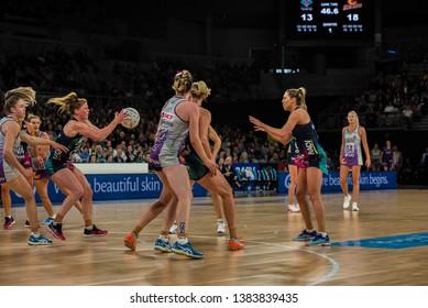 MELBOURNE, AUSTRALIA -27 APRIL, 2019: Suncorp Super Netball, Melbourne 2019 Melbourne Vixens VS Queensland Firebirds. Q1. Philip taking a pass.