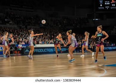MELBOURNE, AUSTRALIA -27 APRIL, 2019: Suncorp Super Netball, Melbourne 2019 Melbourne Vixens VS Queensland Firebirds. Q1. Ball in te air.