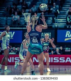 MELBOURNE, AUSTRALIA -27 APRIL, 2019: Suncorp Super Netball, Melbourne 2019 Melbourne Vixens VS Queensland Firebirds. Q1. Watson receiving a ball.