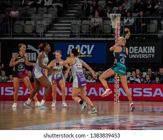 MELBOURNE, AUSTRALIA -27 APRIL, 2019: Suncorp Super Netball, Melbourne 2019 Melbourne Vixens VS Queensland Firebirds. Q1. Weston in the air with a ball.