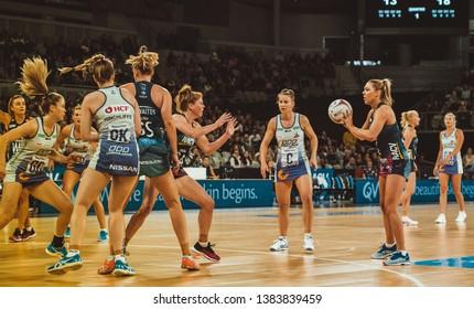MELBOURNE, AUSTRALIA -27 APRIL, 2019: Suncorp Super Netball, Melbourne 2019 Melbourne Vixens VS Queensland Firebirds. Q1. Moloney looking to pass.