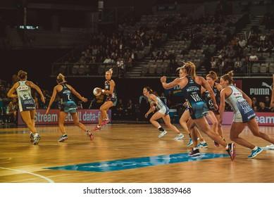 MELBOURNE, AUSTRALIA -27 APRIL, 2019: Suncorp Super Netball, Melbourne 2019 Melbourne Vixens VS Queensland Firebirds. Q1. Ingles with a ball.