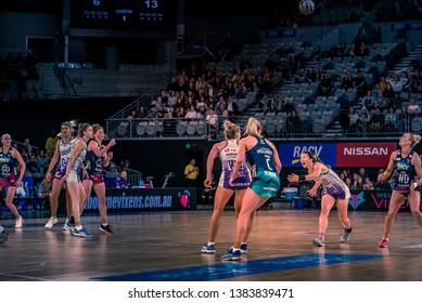 MELBOURNE, AUSTRALIA -27 APRIL, 2019: Suncorp Super Netball, Melbourne 2019 Melbourne Vixens VS Queensland Firebirds. Q1. Ball is up in the air.