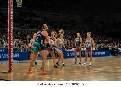 MELBOURNE, AUSTRALIA -27 APRIL, 2019: Suncorp Super Netball, Melbourne 2019 Melbourne Vixens VS Queensland Firebirds. Q1. Vixens on the goal.
