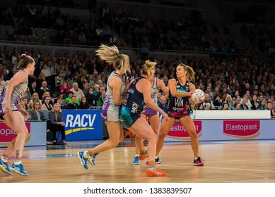 MELBOURNE, AUSTRALIA -27 APRIL, 2019: Suncorp Super Netball, Melbourne 2019 Melbourne Vixens VS Queensland Firebirds. Q1. Vixens attacking.