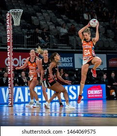 MELBOURNE, AUSTRALIA -28 JULY, 2019: Suncorp Super Netball, Melbourne 2019, Week 10, Collingwood Magpies Netball VS Giants Netball. Catch and land by Harten.