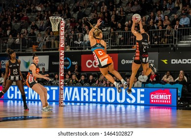 MELBOURNE, AUSTRALIA -28 JULY, 2019: Suncorp Super Netball, Melbourne 2019, Week 10, Collingwood Magpies Netball VS Giants Netball. Flying up.
