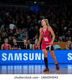 MELBOURNE, AUSTRALIA -28 JULY, 2019: Suncorp Super Netball, Melbourne 2019, Week 10, VIXENS vs THUNDERBIRDS. Chelsea Pitman