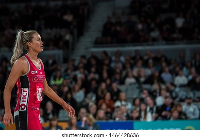 MELBOURNE, AUSTRALIA -28 JULY, 2019: Suncorp Super Netball, Melbourne 2019, Week 10, VIXENS vs THUNDERBIRDS. Thunderbirds Captain Chelsea Pitman