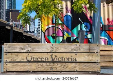 MELBOURNE, AUSTRALIA - 3 NOVEMBER 2014: Planter boxes and colorful artwork at Queen Victoria Markets in Melbourne, Australia.