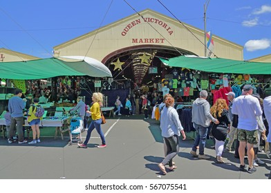 MELBOURNE, AUSTRALIA -7 DEC 2016- The Queen Victoria Market (Queen Vic), located in the Central Business District of Melbourne, is the largest open air market in Australia.